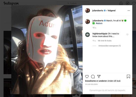 Julia Roberts con Aduro Mask