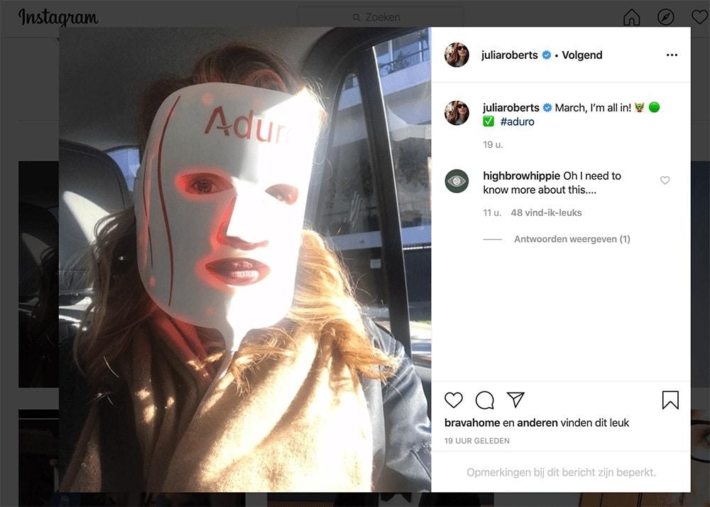 Julia Roberts met Aduro Mask